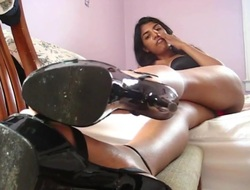 college girl from india apply pressure on shoelicking